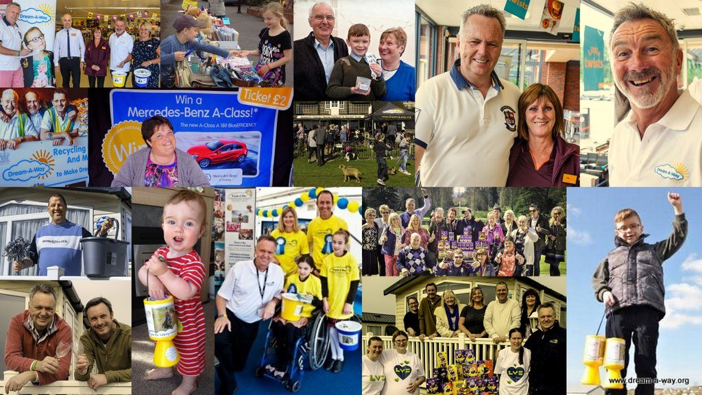 Collage of volunteers having fun at events. Volunteer today!