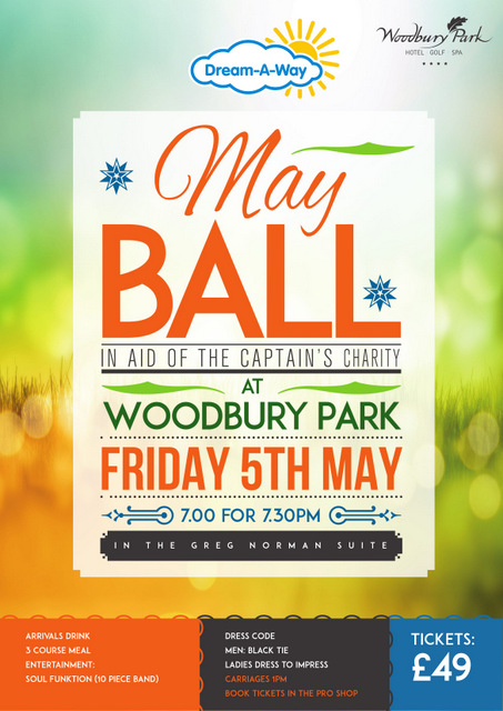 May Ball poster giving details of the event at Woodbury Park on May 5th 2017