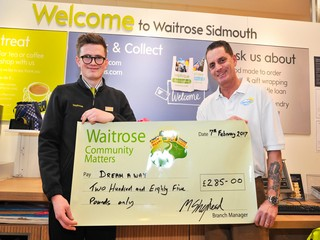 Photo of Waitrose Sidmouth cheque presentation