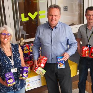 Image of Jeff collecting Easter Eggs from LV staff