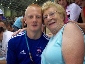 Photo Of David Hill at the Athens 2004 Paralympics with his number one fan - his Nan