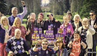 Photo of our guests having a fun Easter day out at Bicton, surrounded by Easter eggs!