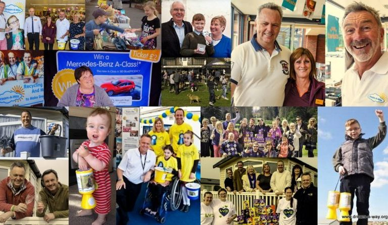 Collage of volunteers having fun at events