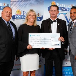 Pictured L to R; Trustee, Keiron Northcott, Jill Douglas (TVSports presenter), Mike Rock (DREAM-A-WAY) and Trustee, Michael Caines MBE during Exeter Chiefs season launch night in aid of the Exeter Foundation at Sandy Park, Exeter (Photo: Phil Mingo/Pinnacle)
