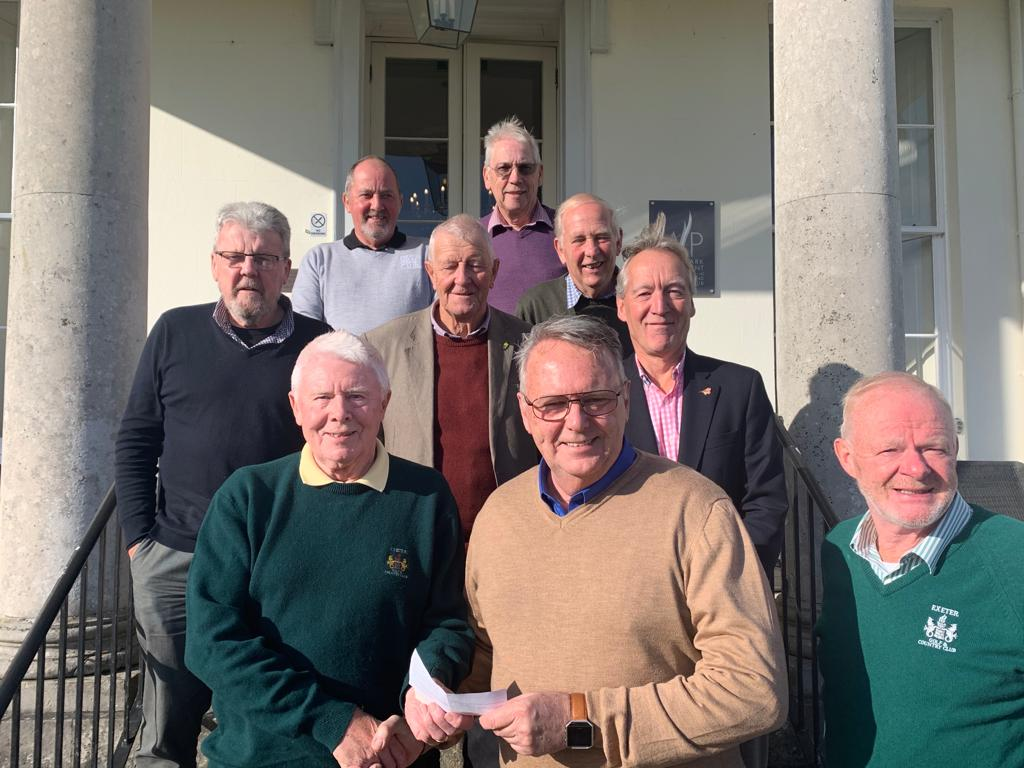 Jeff with outgoing Senior mens captain at Exeter Golf & Country Club Colin Follett and members of the Committee outside main club entrance